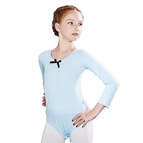 ZRFNFMA Kindertanzanzüge Mädchen Praxis Kleidung Langarm Rundhals Gymnastik Anzüge Tanzanzüge Trikots Anzüge Light blue-110cm