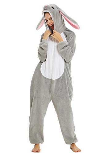 BESUURAN Relaxo Kostüm Löwe Onesie Jumpsuit Tier Relax Kostuem Fuchs Pyjama Hase Weihnachten Halloween Schlafanzug Cosplay Erwachsene Karneval Hirsch Rabbit M