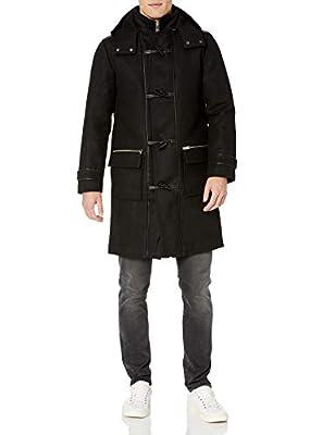 LAMARQUE Men's Henry Italian Wool Duffle Coat with Lambskin Trim, Black, X-Large