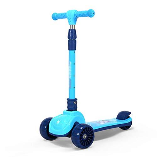 FRTG Scooters para niños, Patinete de 3 Ruedas para niños pequeños, niñas y niños, inclinarse para Conducir con Ruedas LED de PU para niños,B