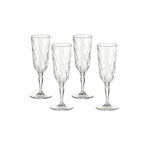 Omada Design Satz 4 Gläser Chmapagner von 17,5 Cl aus Durchsichtigen und Farbigen Acryl, Ideal für Aperitifs, Made in Italy, Spülmaschinenfest, Linea Diamond