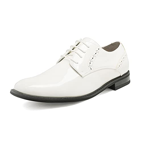 Bruno Marc Men's Prince-16 White Pat Leather Lined Dress Oxfords Shoes Size 7.5 M US