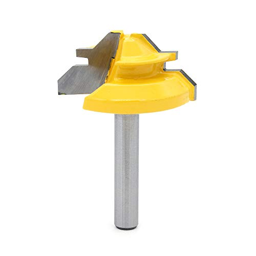 DingGreat 1/4 Zoll Schaft Verleimfräser Gehrung Verleimfräser Oberfräse, 45 Grad Verriegelung Gehrungsfräser, Holzbearbeitung Fräser Schneidwerkzeug für Graviermaschine Trimmmaschine