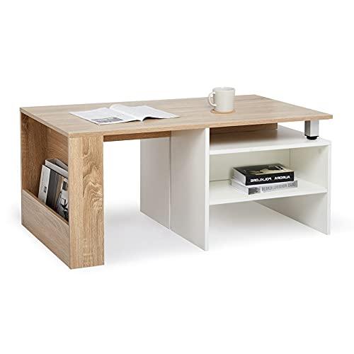 Meerveil - Table Basse - Table dAppoint Extensible Ajustable Scandinaves pour Salon, 140x55x45 cm Blanc et Chêne