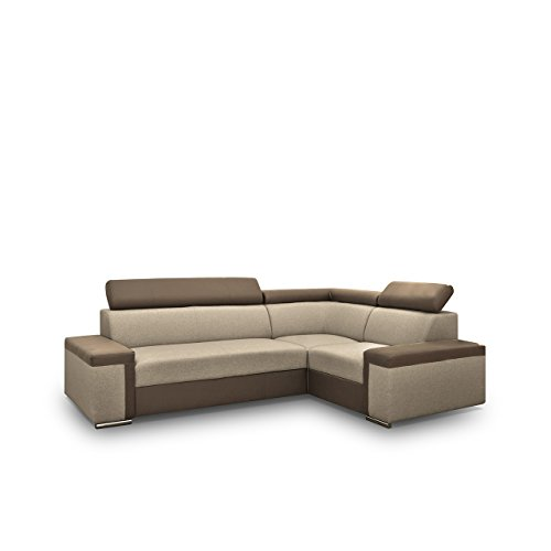 Eckcouch Fondo mit verstellbare Kopfstützen, Polsterecke mit Bettkasten und Schlaffunktion, Design Ecksofa mit Bettfunktion, Bettsofa, Funktionssofa L-Form (Ecksofa Rechts, Soft 030 + Muna 03)