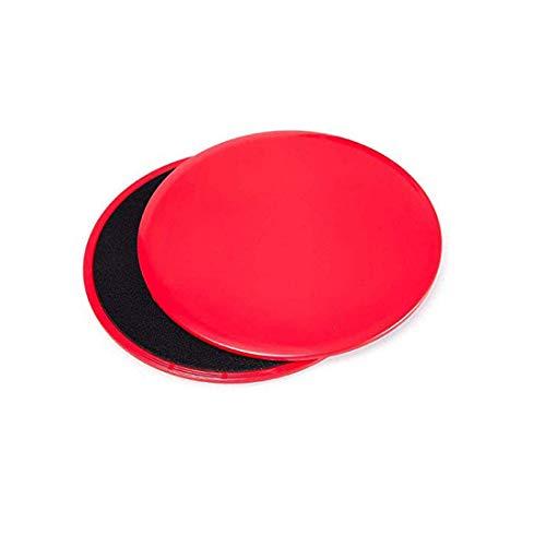 KingBra Core Sliders Ejercicio de doble cara uso en alfombras o suelos de madera dura, ideal para crossfit, entrenamiento abdominal, rutinas de entrenamiento (1 juego, rojo)