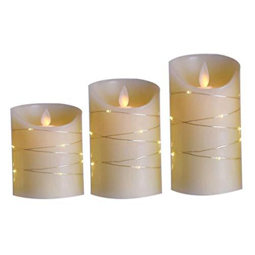 XXLYY 1 Juego de lámparas de Velas sin Llama Lámpara de Llamas LED de Baile Realista con luz de Cadena Control Remoto Decoración de Fiesta de Boda
