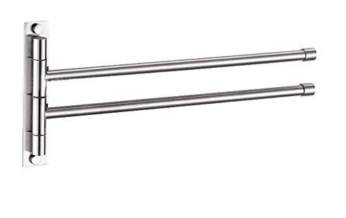 btsky ™ Edelstahl Badezimmer Küche drehbar Handtuch Bar Kleidung Gürtel Rack Halter, metall, silber, Extra Long 2 Bars