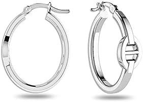 HIKARO Sterling Silver Jewelry Anchor Chain Hoop Earrings for Teen Women