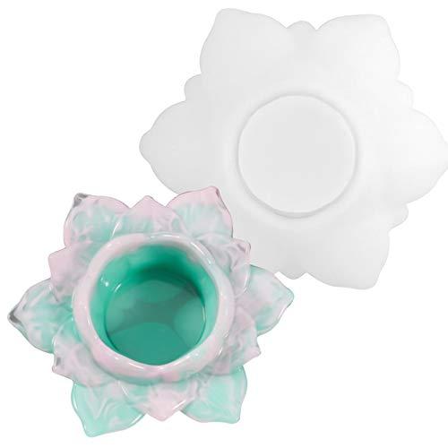 NiceLand Epoxidharz Formen Lotusform Leuchter Resin Silikonform, Kunstharz Gießen Set, Silikonformen Epoxidharz Schmuck DIY