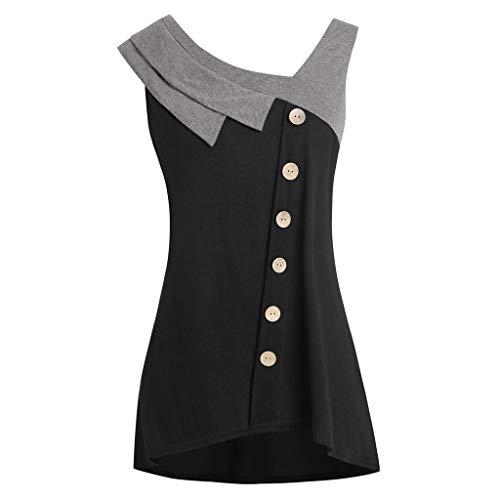 iYmitz Damen Sommer Trägershirt Mode Plus Größe Neigung Hals Asymmetrisches Ärmelloses T-Shirt mit Knopfleiste Für Frauen Mädchen