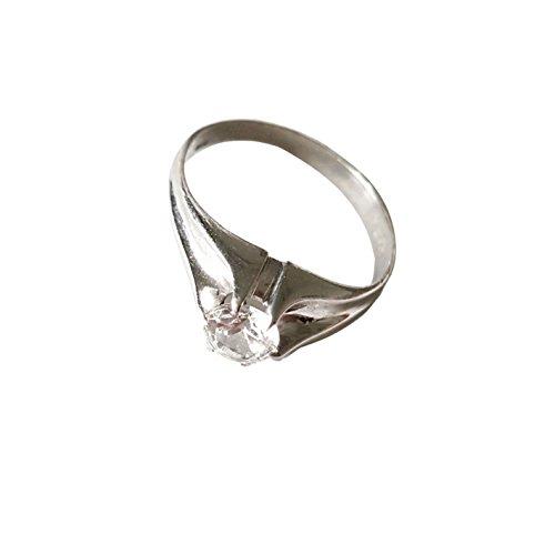 Heren solitaire ring van 18-karaats witgoud (750/000) met witte zirkonia maat 3.60