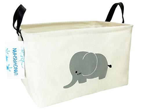 Rectangular Storage Bin Canvas Fabric Folding Gift Basket with Handles- Toy Box/Toy Storage/Toy Organizer for Boys and Girls - Nursery Hamper(Elephant)