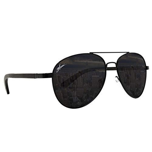 glozzi Holz Pilotenbrille Polarisierte Sonnenbrille Herren und Damen - Ebenholz