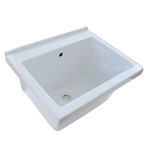 Elle emme Ci Lavatoio Ceramica 60x50 Tutta Vasca in Ceramica Bianca con tavola in Legno sifone e piletta
