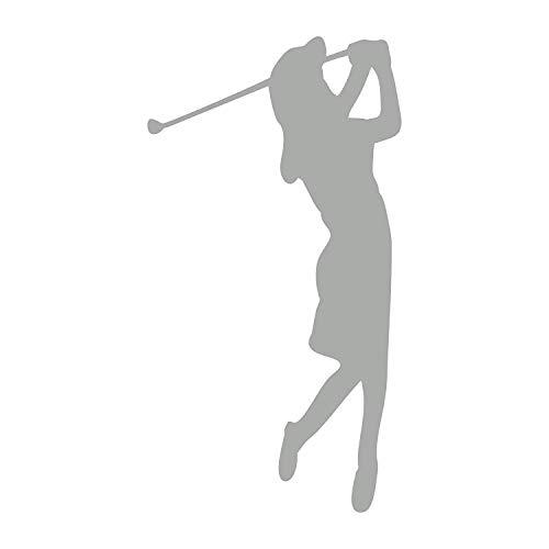 Golferin Aufkleber Golf Sport Golfspielerin Autoaufkleber 12 cm (Silber)