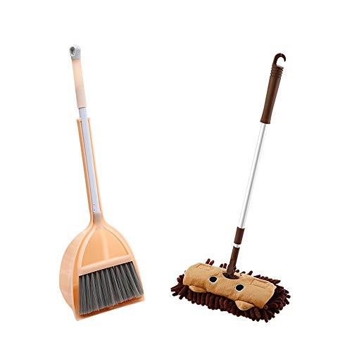 Classic Sweeping Set con 3 Pezzi, per Bambini, con Manico Lungo Anti Polvere Scopa Paletta Manico Lungo Sweeper Kit Pretend Play Set per Bambini (B)