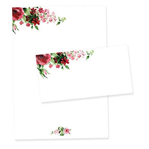 Briefpapier Set Rose I Briefbögen mit Umschlag I DIN A4 I Motiv-Papier mit aquarell vintage Blume I Liebe Hochzeit Valentinstag Einladung I dv_440