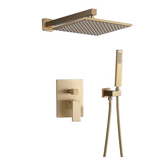 ducha empotrada pared alcachofa ducha cuadrada manguera de ducha y soporte, sistema set de ducha empotrado, con válvula de desvío mezcladora en 2 vías oculta -Muro-Dorado_Sin grifo
