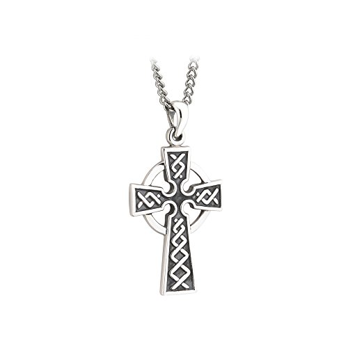 Biddy Murphy Celtic Cross Necklace for Men Oxidized Sterling Silver 2 Sided Made in Ireland