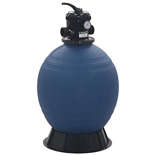 vidaXL Sandfilter mit 6 Wege Ventil Sandfilteranlage Poolfilter Poolpumpe Filteranlage Pool Filter Filterkessel Schwimmbad Blau 560 mm 10 m³/h