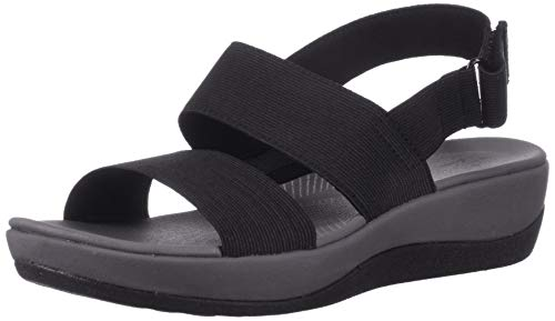 Clarks womens Arla Jacory Wedge Sandal, Black Solid, 10 US