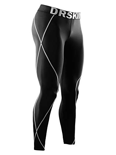 DRSKIN Men's Compression Pants Sports Tights Baselayer Running Workout Active Leggings Yoga Dry Thermal Warm Wintergear (XL, DB01)