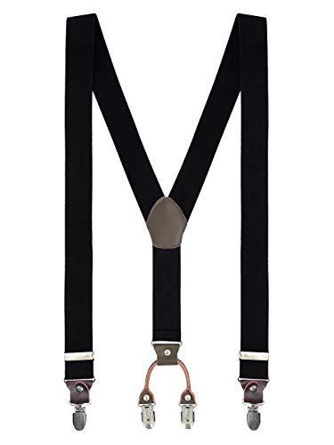 WANYING Basic Y-vormige bretels voor heren, 4 stevige clips, zeer elastisch, in lengte verstelbaar, 3,5 x 110 cm, effen voor lichaamslengte tot 180 cm