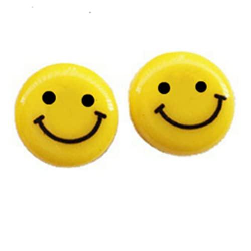 QWEQWE 100 cuentas emoji para enhebrar con forma de emoticono sonriente, perlas para manualidades, perlas de colores para pulseras, joyas, manualidades, regalo para niños, color amarillo