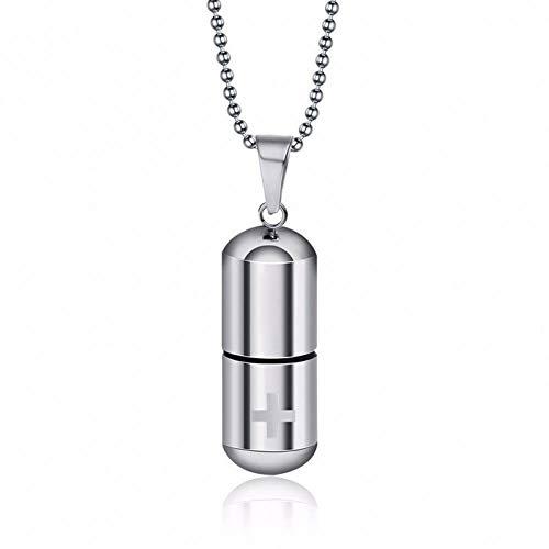 Bleu d/'Argent inoxydable Steel Cross Crucifix Pill Capsule Charm Urne