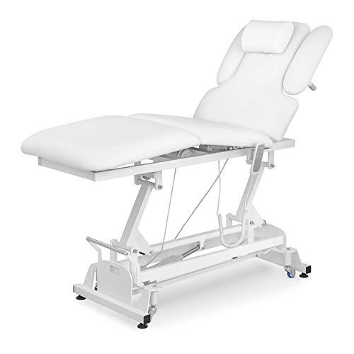 physa NANTES WHITE Massageliege höhenverstellbar elektrisch Massagetisch Massagebank Kosmetiksliege Therapieliege (weiß, Kunstleder, Schaumstoff-Polsterung, bis 200 kg, individuell einstellbar)