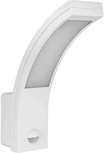 Lámpara de pared LED 10 W IP54 con detector de movimiento + sensor crepuscular – blanco diurno (4000 K) – curvada
