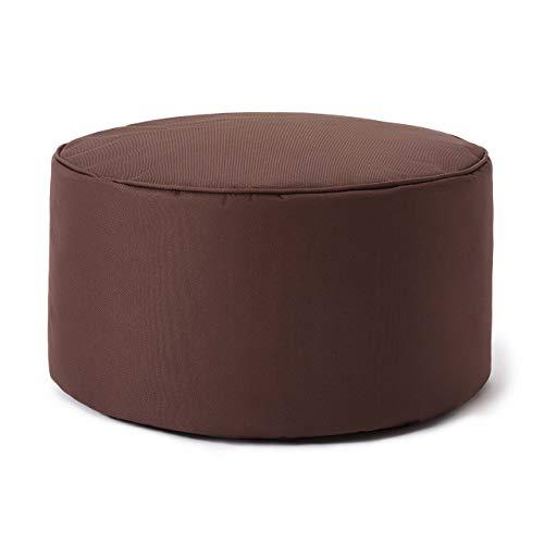Lumaland Indoor Outdoor Sitzhocker 25 x 45 cm - Runder Sitzpouf, Sitzsack Bodenkissen, Sitzkissen, Bean Bag Pouf - Wasserabweisend - Pflegeleicht - ideal für Kinder und Erwachsene - Braun
