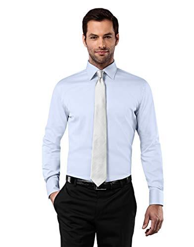 Vincenzo Boretti Herren-Hemd bügelfrei 100% Baumwolle Slim-fit tailliert Uni-Farben - Männer lang-arm Hemden für Anzug Krawatte Business Hochzeit Freizeit eisblau 39-40