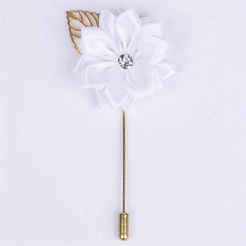 Metalen gouden blad bruidegom corsages zijde satijn roos bloem broche bruidegom mannen bruiloft accessoires prom man pak corsage pin XH889Z, wit, 4cm bij 10cm