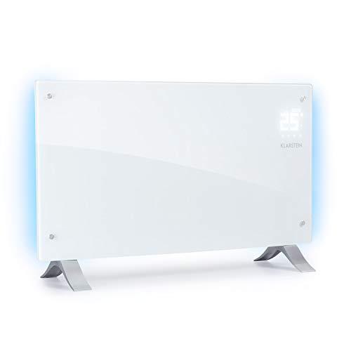 Klarstein Bornholm Curved Ambient - Convector, Calefactor, 1000 o 2000 W de Potencia, De 5° a 45°C, Táctil, Modo Eco, Autoapagado, Programable, Certificado de protección IP24, Blanco