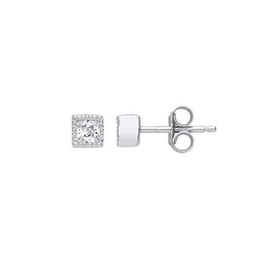 Jewelco London - Orecchini a perno da donna in argento Sterling placcato al rodio, con zirconia cubica taglio principessa