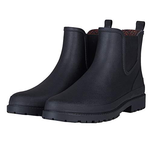 UNICARE Men's Chelsea Rain Boots Waterproof Slip on Shoes Nonslip Short Ankle Boots Rubber Rain Footwear Handmade, Black, US Size 10