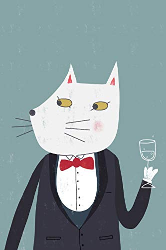 Notes: A Blank Sheet Music Notebook with Cute Cat Drinking Champagne Cover Art
