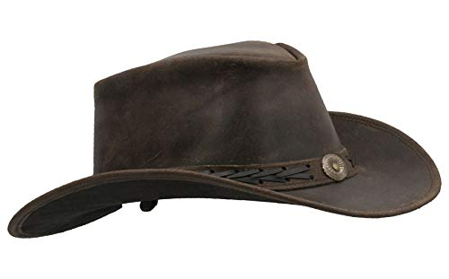 Walker and Hawkes - Leather Cowhide Outback Explorer Antique Hat - Dark...
