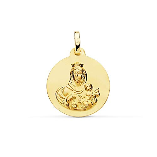 Medalla Oro 18K Virgen Del Carmen 18mm. Lisa [Ac0955Gr] - Personalizable - Grabación Incluida En El Precio