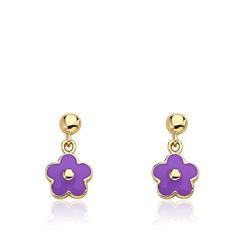 Little Miss Twin Stars Frosted Flowers 14k Gold-Plated Small Hanging Lavender Flower Earring/