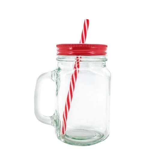 Set met 48 glazen potjes met rode schacht – kruik voor details bruiloft en communie