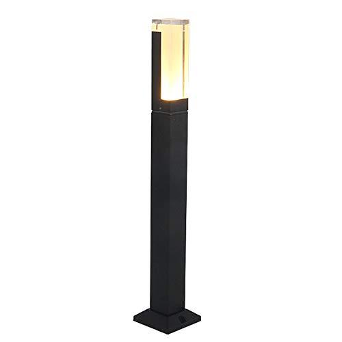 Lâmpada de chão LED Exterior Lâmpada de jardim à prova de intempéries com potência, Luz Bollard moderna, Luz de caminho, Luz de tomada, Luz de caminho, Alumínio preto