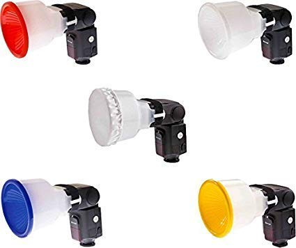 VEEPRO® Flash Diffuser Lambency Diffuser Kit with Four Color Domes White, Blue, Orange and Yellow Cloth Diffuser.