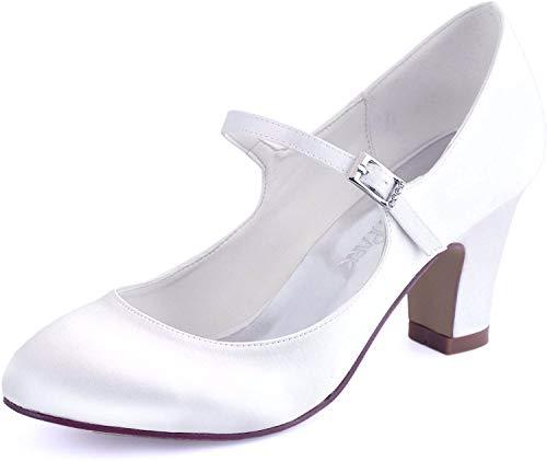 ElegantPark HC1801 Bequeme Damen Blockabsatz Mary Jane Pumps Satin Hochzeit Brautschuhe, Weiß, 40 EU