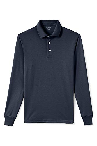 Lands' End Herren Supima Langarm-Polo, Classic Fit 44-46 Blau - Classic Navy
