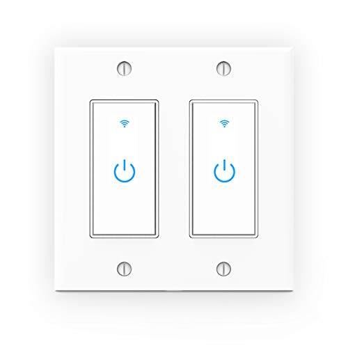 WiFi Light Switch Smart Switch 2 Gang Touch Wall Switch - Compatible with Alexa Google Assistant and IFTTT