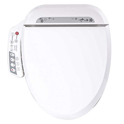Fit Choice JT-200A Electronic Bidet Toilet Cleansing Water, Heated Seat, Deodorizer bidet toilet seat, Warm Air Dryer, Temperature Controlled Wash Functions, Elongated and Round (Elongated, White)