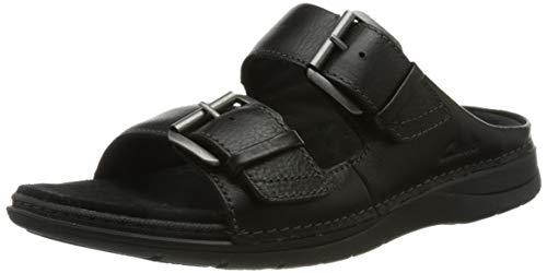 Clarks Herren Nature Vibe Sandale, Black Leather, 44.5 EU